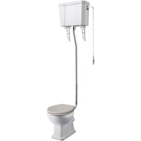 Hudson Reed Richmond High Level Toilet with Lever Cistern and Flush Pipe Kit - Excluding Seat