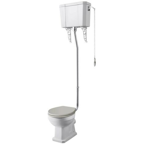 Hudson Reed Richmond High Level Toilet with Pull Chain Cistern and Flush Pipe Kit - Excluding Seat