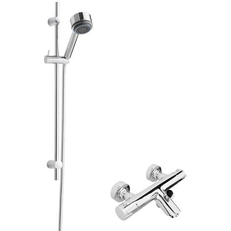 Hudson Reed Round Thermostatic Bath Shower Mixer with Linear Slider Rail Kit - Chrome