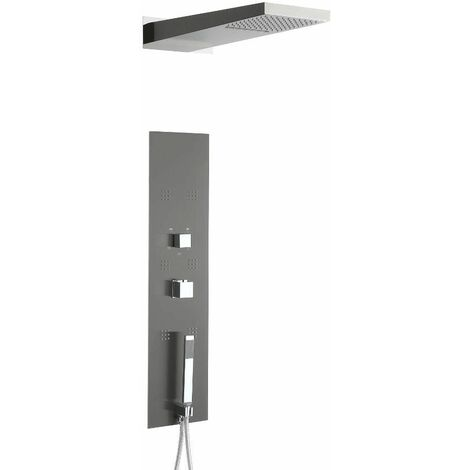 Hudson Reed Ryukyu - Colonne de Douche Thermostatique Design Encastrable Gris