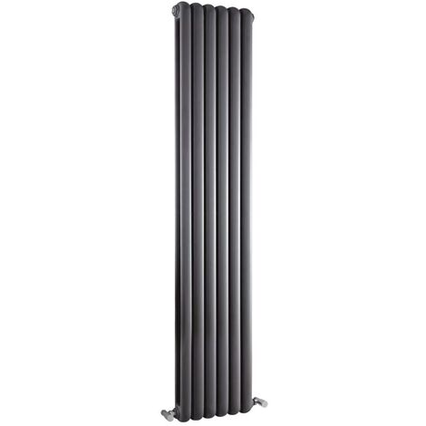 Hudson Reed Salvia Double Designer Vertical Radiator 1800mm H x 383mm W Anthracite