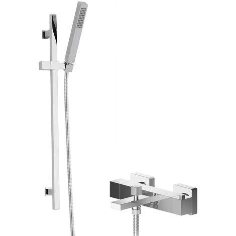 Hudson Reed Sanford Thermostatic Bath Shower Mixer with Kubix Slider Rail Kit - Chrome