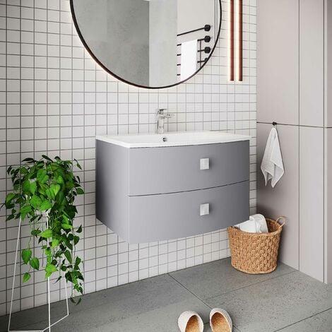 "main image of ""Hudson Reed Sarenna 2-Drawer Wall Hung Vanity Unit and Basin 700mm Wide - Dove Grey"""