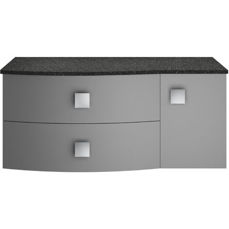 Hudson Reed Sarenna LH Wall Hung Vanity Unit with Black Marble Top 1000mm Wide - Dove Grey