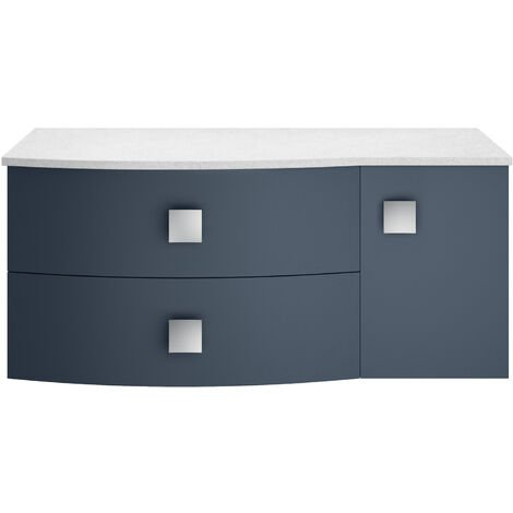 Hudson Reed Sarenna LH Wall Hung Vanity Unit with White Marble Top 1000mm Wide - Mineral Blue