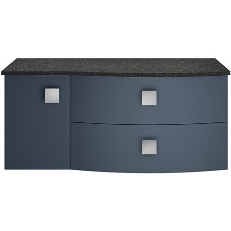 Hudson Reed Sarenna RH Wall Hung Vanity Unit with Black Marble Top 1000mm Wide - Mineral Blue