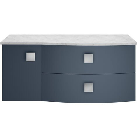 Hudson Reed Sarenna RH Wall Hung Vanity Unit with Grey Marble Top 1000mm Wide - Mineral Blue