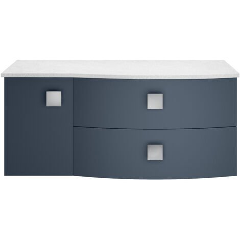 Hudson Reed Sarenna RH Wall Hung Vanity Unit with White Marble Top 1000mm Wide - Mineral Blue