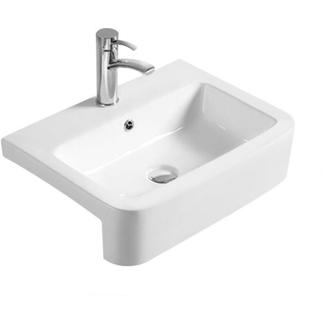 Hudson Reed Semi Recess 560mm Basin with 1 Tap Hole - NBV171