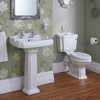 Hudson Reed - Set Bagno Tradizionale Completo con Lavabo a Colonna e Sanitario WC con Vaso, Cassetta e Sedile (Ceramica Bianca, Design Vittoriano)