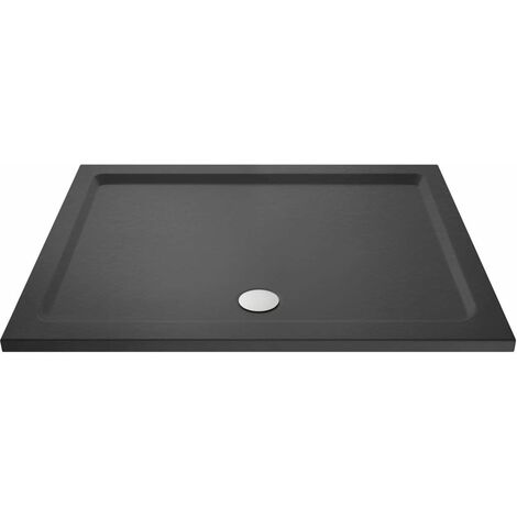 Hudson Reed Slate Grey 1700mm x 800mm Rectangular Shower Tray with Centre Edge Waste - TR71063