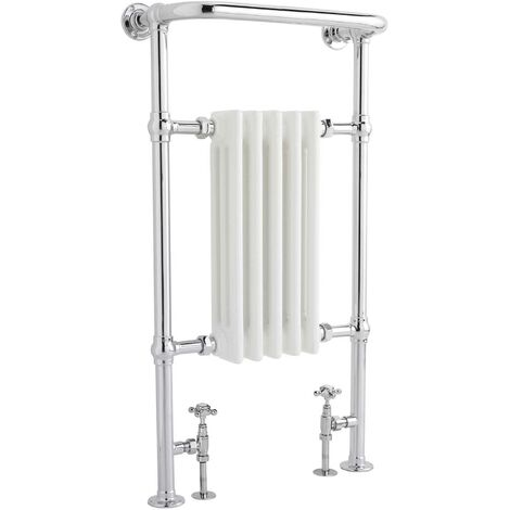 Hudson Reed Small Harrow Heated Towel Rail 965mm H x 540mm W Chrome/White