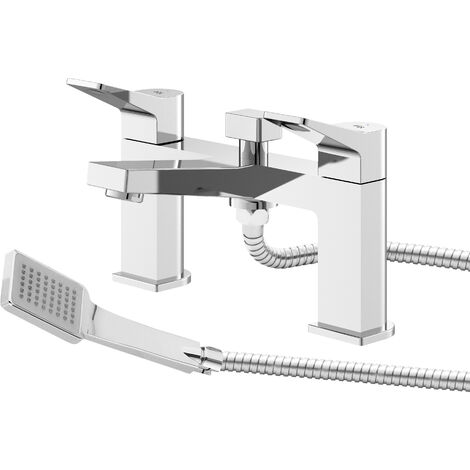 Hudson Reed SOA304 Soar | Modern Bathroom Deck Mounted Bath Shower Mixer Tap, 143mm x 231mm, Chrome