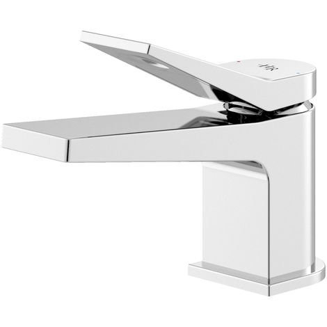 Hudson Reed SOA345 Soar | Modern Cloakroom Bathroom Mono Basin Mixer Tap with Free Push Button Waste, 116mm x 51mm, Chrome