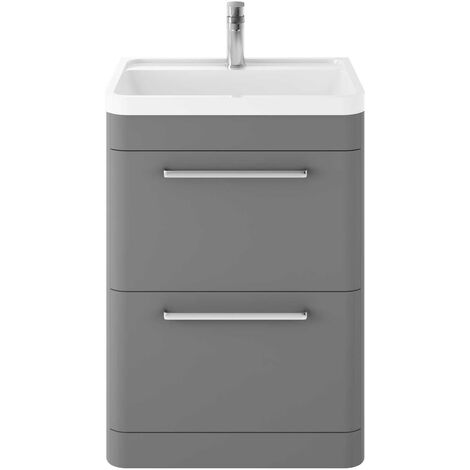 Hudson Reed Solar Floor Standing Vanity Unit with Basin 600mm Wide - Cool Grey