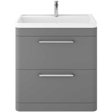Hudson Reed Solar Floor Standing Vanity Unit with Basin 800mm Wide - Cool Grey