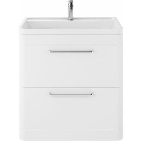 Hudson Reed Solar Floor Standing Vanity Unit with Basin 800mm Wide - Pure White