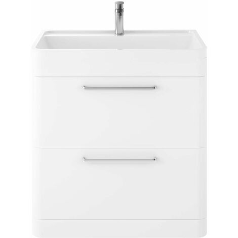 Hudson Reed Solar Pure White 800mm 2 Drawer Vanity Unit and Basin with 1 Tap Hole - SOL103