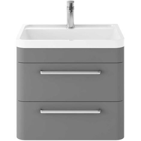 Hudson Reed Solar Wall Hung Vanity Unit with Basin 600mm Wide - Cool Grey