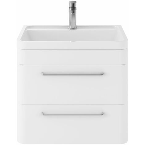 Hudson Reed Solar Wall Hung Vanity Unit with Basin 600mm Wide - Pure White