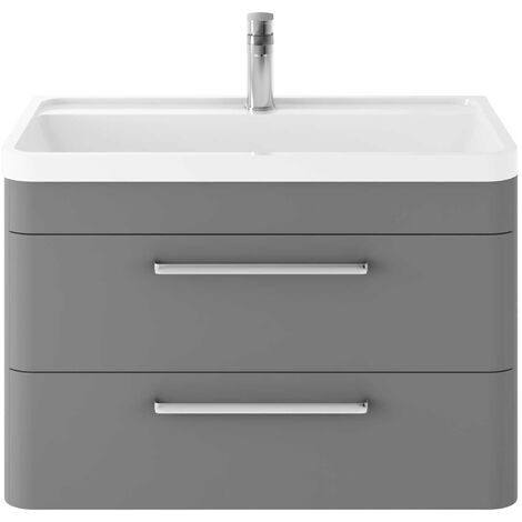 Hudson Reed Solar Wall Hung Vanity Unit with Basin 800mm Wide - Cool Grey