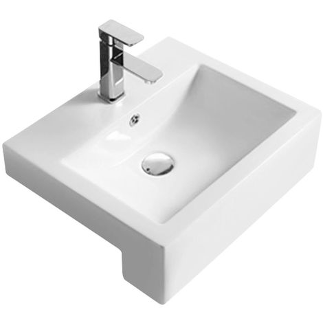 Hudson Reed Square 530mm Semi Recessed Basin with 1 Tap Hole - NBV172