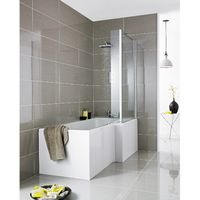 Hudson Reed Square L-Shaped Eternalite Shower Bath 1700mm x 700mm/850mm Right Handed - White