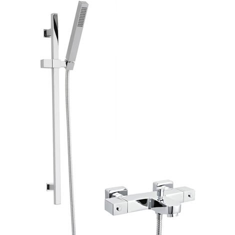Hudson Reed Square Thermostatic Bath Shower Mixer with Kubix Slider Rail Kit - Chrome