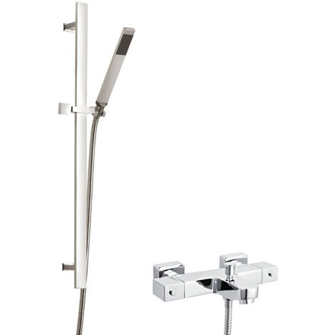 Hudson Reed Square Thermostatic Bath Shower Mixer with Sheer Slider Rail Kit - Chrome