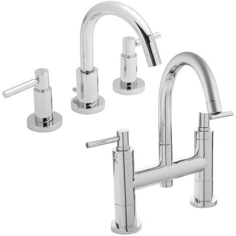 Hudson Reed Tec Lever Basin Mixer Tap and Bath Filler Tap, Chrome