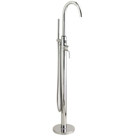 Hudson Reed Tec Single Lever Elite Mono Bath Shower Mixer Tap Floor Mounted - Chrome