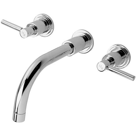 Hudson Reed TEL317 Tec Lever ǀ Modern Bathroom Minimalist Wall Mount Double Lever Handle Basin Mixer Tap , 106mm x 320mm, Chrome