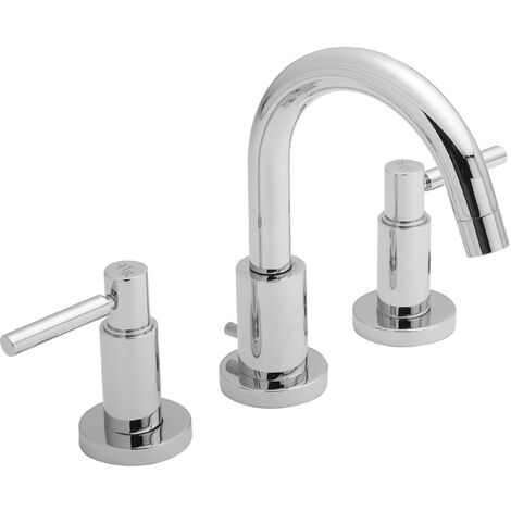 Hudson Reed TEL337 Tec Lever ǀ Modern Bathroom Minimalist Double Lever Handle 3 Tap Hole Basin Mixer Tap with Swivel Spout and Pop-up Waste, 190mm x 235mm, Chrome