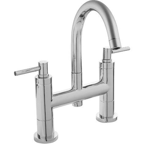 Hudson Reed TEL353 Tec Lever ǀ Modern Bathroom Minimalist Lever Handle Bath Filler Tap with Swivel Spout, 320mm x 360mm, Chrome