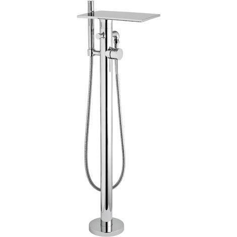 Hudson Reed TFR362 Tec Cross ǀ Modern Bathroom Minimalist Waterfall Single Lever Handle Floor Standing Bath Shower Mixer, 913mm x 150mm, Chrome