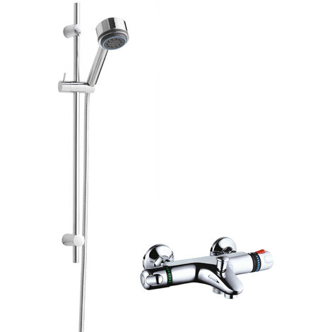 Hudson Reed Thermostatic Bath Shower Mixer with Linear Slider Rail Kit - Chrome