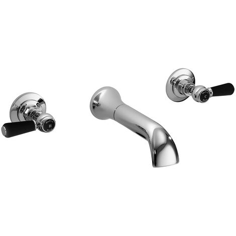 Hudson Reed Topaz Black Lever Wall Mounted Bath Spout and Stop Taps Hexagonal Collar