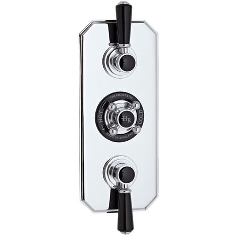 Hudson Reed Topaz Black Triple Concealed Shower Valve with Diverter