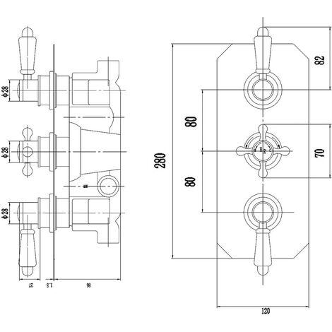Hudson Reed Topaz Chrome/White Triple Concealed Shower Valve