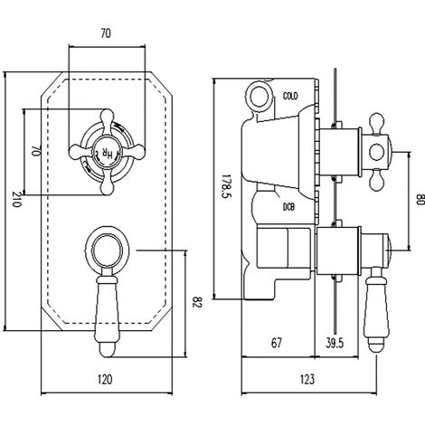Hudson Reed Topaz Chrome/White Twin Concealed Shower Valve with Diverter