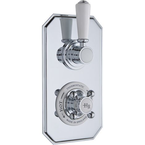 Hudson Reed TSVT002 White Topaz | Twin Thermostatic Shower Valve, Chrome / White