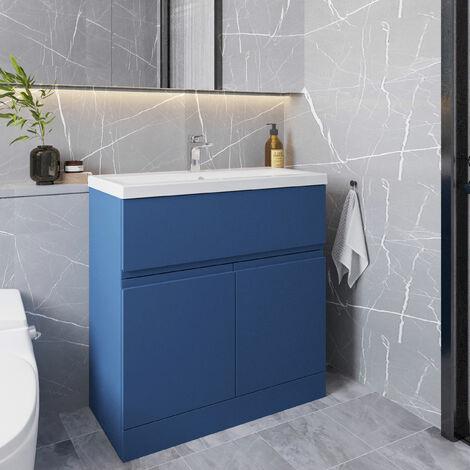 Hudson Reed Urban Floor Standing 2-Door Vanity Unit with Basin 2 Satin Blue - 800mm Wide