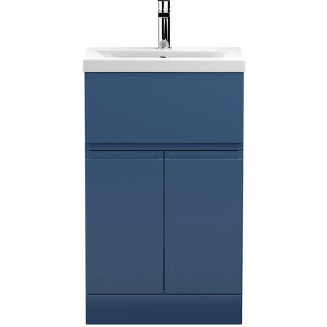 Hudson Reed Urban Floor Standing Vanity Unit with Basin 1 Satin Blue - 500mm Wide