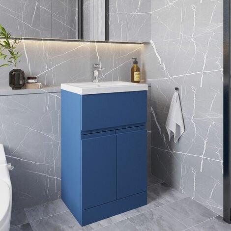 Hudson Reed Urban Floor Standing Vanity Unit with Basin 2 Satin Blue - 500mm Wide