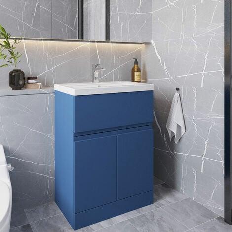 Hudson Reed Urban Floor Standing Vanity Unit with Basin 2 Satin Blue - 600mm Wide