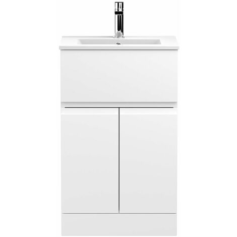 Hudson Reed Urban Floor Standing Vanity Unit with Basin 2 Satin White - 500mm Wide