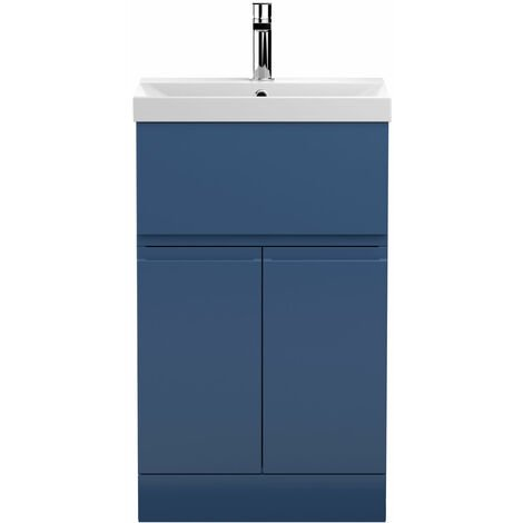 Hudson Reed Urban Floor Standing Vanity Unit with Basin 3 Satin Blue - 500mm Wide