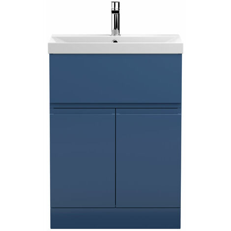 Hudson Reed Urban Floor Standing Vanity Unit with Basin 3 Satin Blue - 600mm Wide