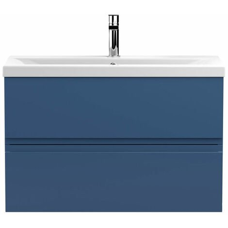 Hudson Reed Urban Wall Hung 2-Drawer Vanity Unit with Basin 1 Satin Blue - 800mm Wide