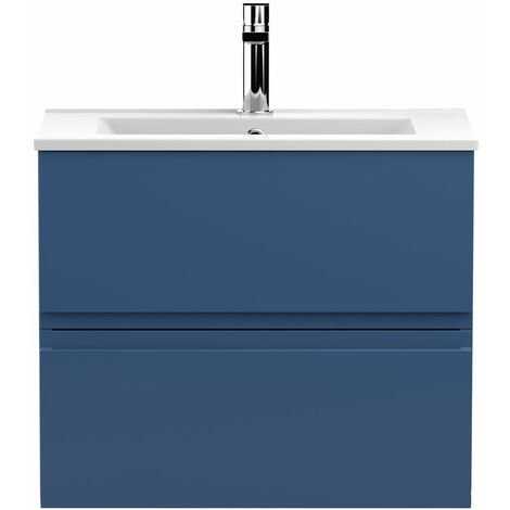 Hudson Reed Urban Wall Hung 2-Drawer Vanity Unit with Basin 2 Satin Blue - 600mm Wide